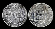 Two 1741 Spanish silver 8 Reals (Dubloons -