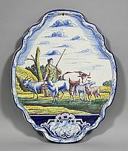 An 18th/19th Century Dutch Delft pottery plaque of