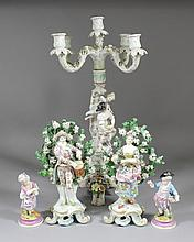 A pair of 19th Century porcelain bocage groups -