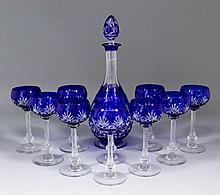 A 20th Century Bohemian blue flashed cut-glass