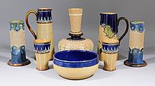 A Doulton Lambeth stoneware buff and royal blue