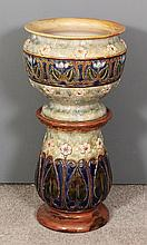 A Royal Doulton stoneware jardiniere and baluster