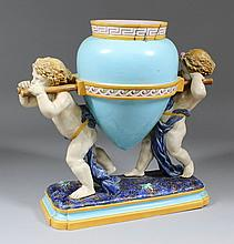 A Minton majolica amphora vase, the model