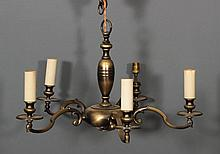 A brass five light electrolier of Dutch design