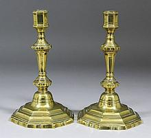 A pair of mid 18th Century French brass pillar
