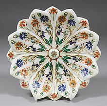 An Indian white marble dish carved as an open