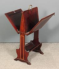 An Edwardian mahogany folio/book stand inlaid with