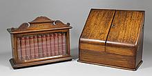 A late Victorian oak stationery cabinet with