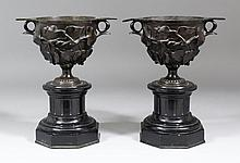 A pair of 19th Century dark brown patinated bronze