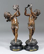 A pair of late 19th Century bronzed spelter
