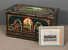 A late Victorian painted pine blanket box, painted