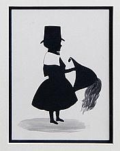 19th Century School - Painted silhouette - Young