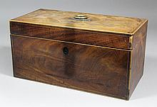 A George III mahogany rectangular tea caddy inlaid