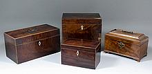 A George III mahogany rectangular tea caddy, 5ins