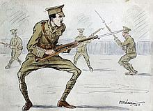 Early 20th Century English School - Ink and watercolour caricature - Four First World War British Soldiers practising bayonet drill