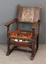 An oak armchair of 17th Century Dutch design, the