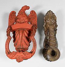 Two 19th Century American cast iron door knockers,