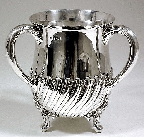 A Victorian silver three handled tyg or loving cup