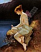 A 19th Century Berlin porcelain rectangular plaque finely enamelled in colours by R. Dittrich with 'Psyche and Meere' - The lightly draped naked young nymph seated on a rocky outcrop holding a butterfly, 12. 5ins x 10.25ins (signed to front and