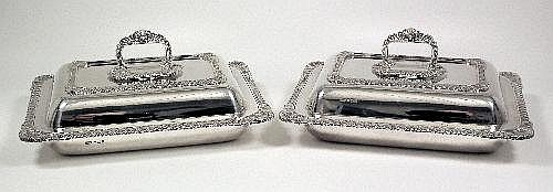 A good pair of George V silver rectangular entree