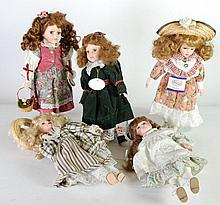SIX MODERN BISQUE HEADED COLLECTORS COSTUME DOLLS,