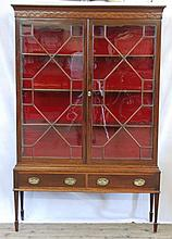 EDWARDIAN MAHOGANY DISPLAY CABINET ON STAND, the