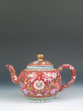 Antique Chinese Famille Rose Porcelain Teapot, Qianlong Mark.