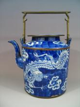 Antique Chinese Blue and White Porcelain Teapot 19th C
