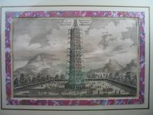 Chinese Porcelain Tower Engraving Picture.