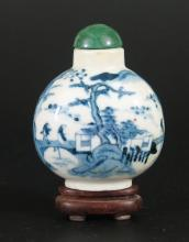 Chinese blue and white porcelain snuff bottle,