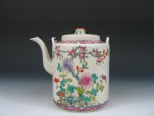 Antique Chinese Famille Rose Porcelain Teapot, Republic Period.