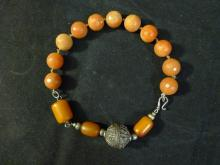 LARGE CHINESE AMBER MILA AND AGATE SILVER NECKLACE