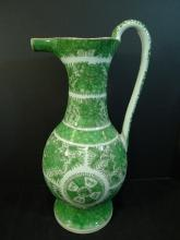 LARGE RARE ANTIQUE CHINESE GREEN FITZHUGH PORCELAIN PITCHER 1820S