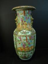 LARGE ANTIQUE CHINESE ROSE MEDALLION PORCELAIN VASE 19TH CENTURY