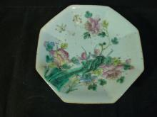 ANTIQUE CHINESE FAMILLE ROSE PORCELAIN OCTAGON DISH GUANGXU 19TH C