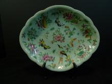 ANTIQUE CHINESE FAMILLE ROSE CELADON PORCELAIN DISH 19TH CENTURY