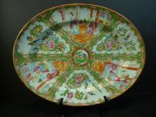 LARGE ANTIQUE CHINESE ROSE MEDALLION PLATTER 19TH CENTURY