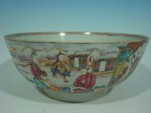 ANTIQUE Chinese Famille Rose Punch Bowl, 18th C