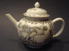 ANTIQUE Chinese Grisaille Figurine Teapot, early 18th C