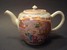 ANTIQUE Chinese Famille Rose Teapot, mid 18th C