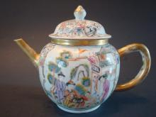 ANTIQUE Chinese Famille Rose Teapot, early 18th C