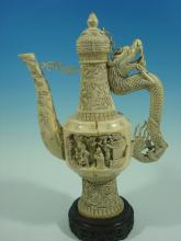 ANTIQUE Chinese Huge Ivory Dragon Teapot, 19th C