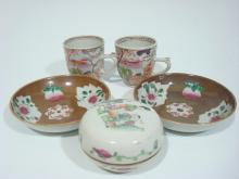 ANTIQUE Chinese Pair Saucers, pair cups and Ink Box, 18th/19th C