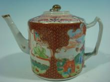 ANTIQUE Chinese Famille Rose Large Teapot, 18th C