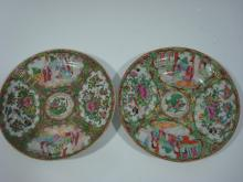 ANTIQUE Chinese Pair Rose Medallion Plates, early 19th C