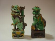ANTIQUE Chinese Sancai Foo Dogs, Kangxi