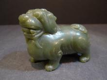 ANTIQUE CHINESE CARVED CELADON JADE FOO DOG 19TH