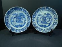 PAIR CHINESE ANTIQUE BLUE WHITE PORCELAIN PLATE. 19TH