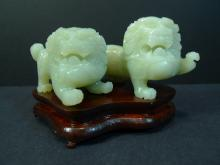 ANTIQUE CHINESE CELADON JADE CARVED FOO LIONS REPUBLIC