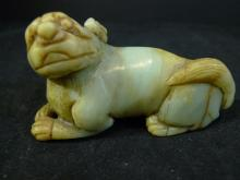 ANTIQUE CHINESE HETIAN JADE CARVED FOO DOG